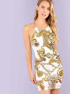 Medusa Print Mini Dress with Lattice Back