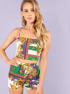 Piece Print Crop Cami Top and Shorts Set