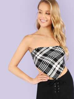 Plaid Tie Back Crop Top
