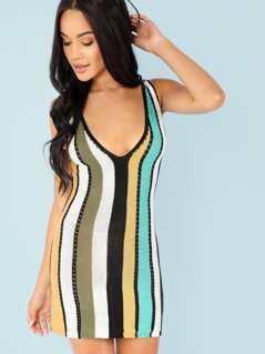 Stripe Open Knit Slip Dress