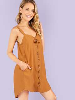 Lace Up Tank Dress with Sweetheart Neckline