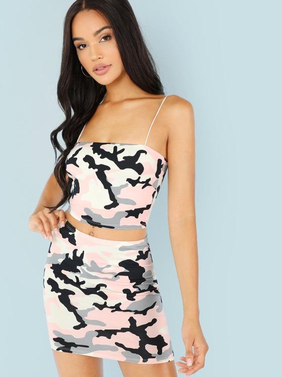 068604fc4e4 Camo Print Cami Top and Mini Skirt Set