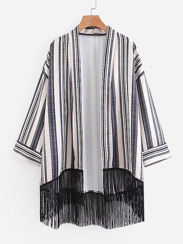 Drop Shoulder Fringe Hem Striped Kimono florals fringe hem kimono