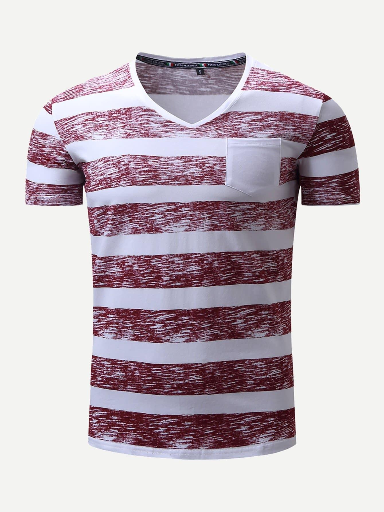 Купить Мужская полосатая футболка с карманом, null, SheIn