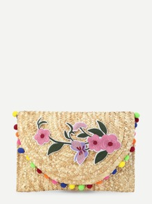Flower Appliques Straw Clutch Bag