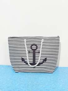 Striped Design Shoulder Bag