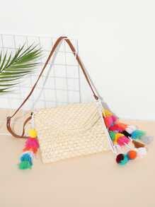 Flap Straw Crossbody Bag With Tassel