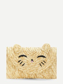 Cat Pattern Straw Clutch Bag