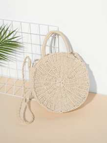 Round Straw Shoulder Bag With Double Handle