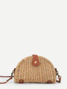 Semicircular Straw Crossbody Bag