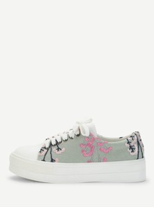 Flower Embroidered Lace Up Sneakers