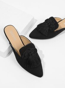 Double Tassel Decorated Pointed Toe Flats