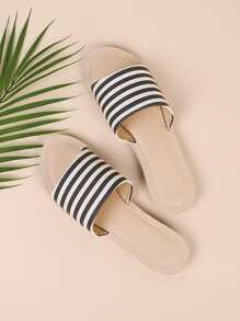 Striped Design Flat Slippers