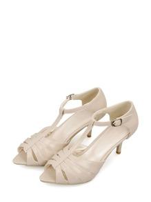 Peep Toe T-Strap Heels