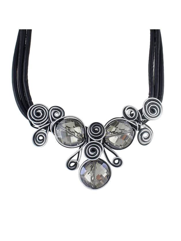 At-Silver Pu Leather Chain Flower Choker Necklace
