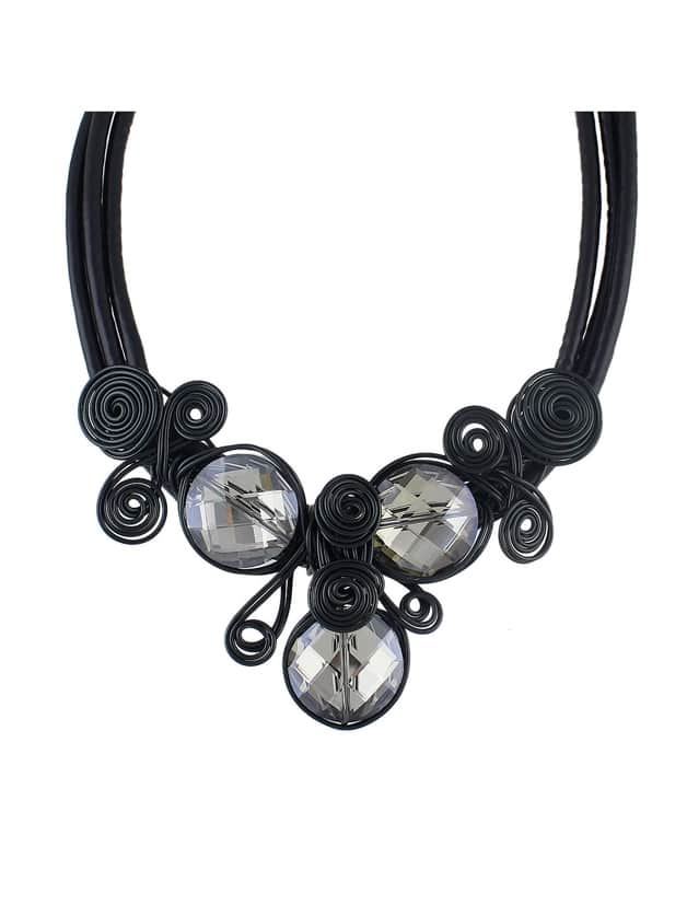 Black Pu Leather Chain Flower Choker Necklace