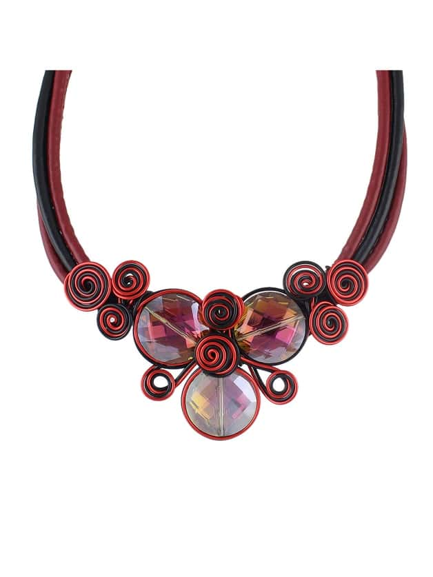 Red Pu Leather Chain Flower Choker Necklace