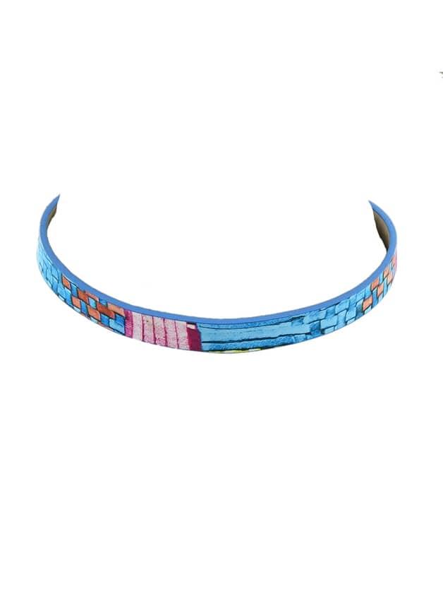 Colorful Pu Leather Choker Geometric Pattern Necklace
