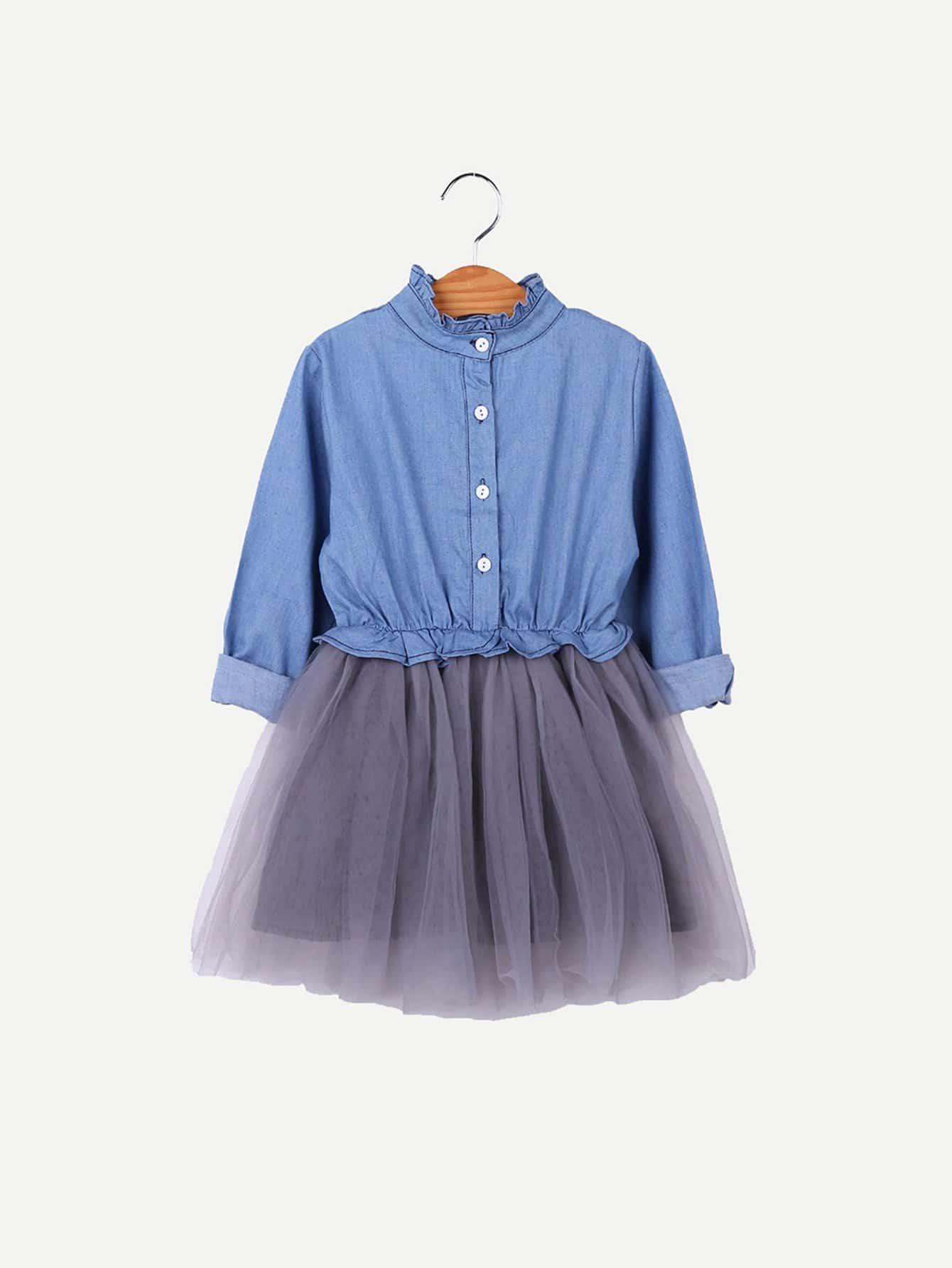 Купить Девушки Платье для сетки Frill Trim, null, SheIn