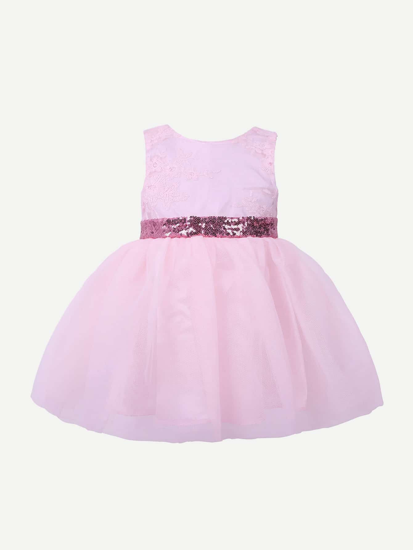 Girls Sequined Belt Bow Back Dress 2017 new cute golden sequined flower girl dresses baby little girls ball gowns dresses with big bow for one year birthday dress