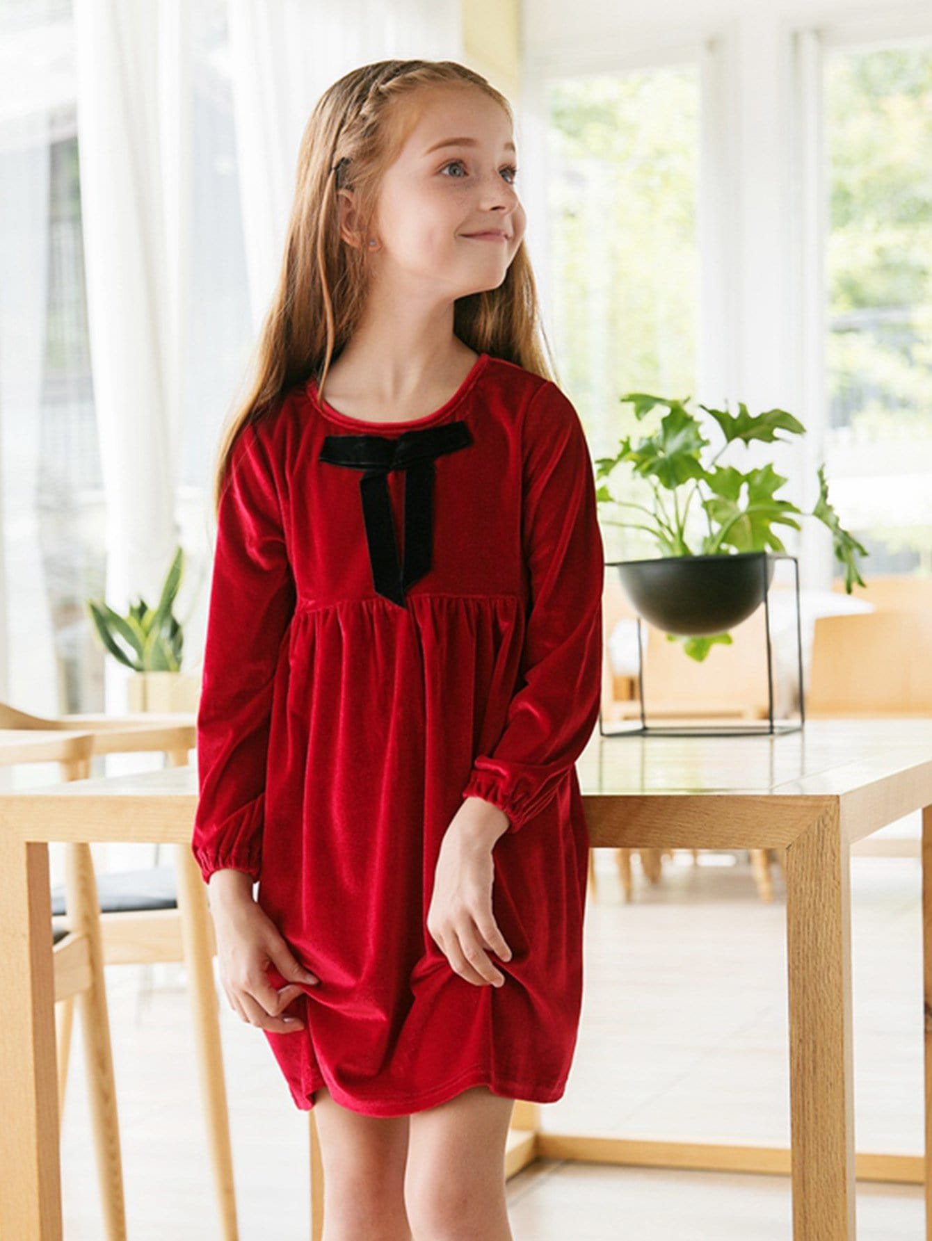 Girls Bow Detail Velvet Dress брюки sisley sisley si007ebacle4