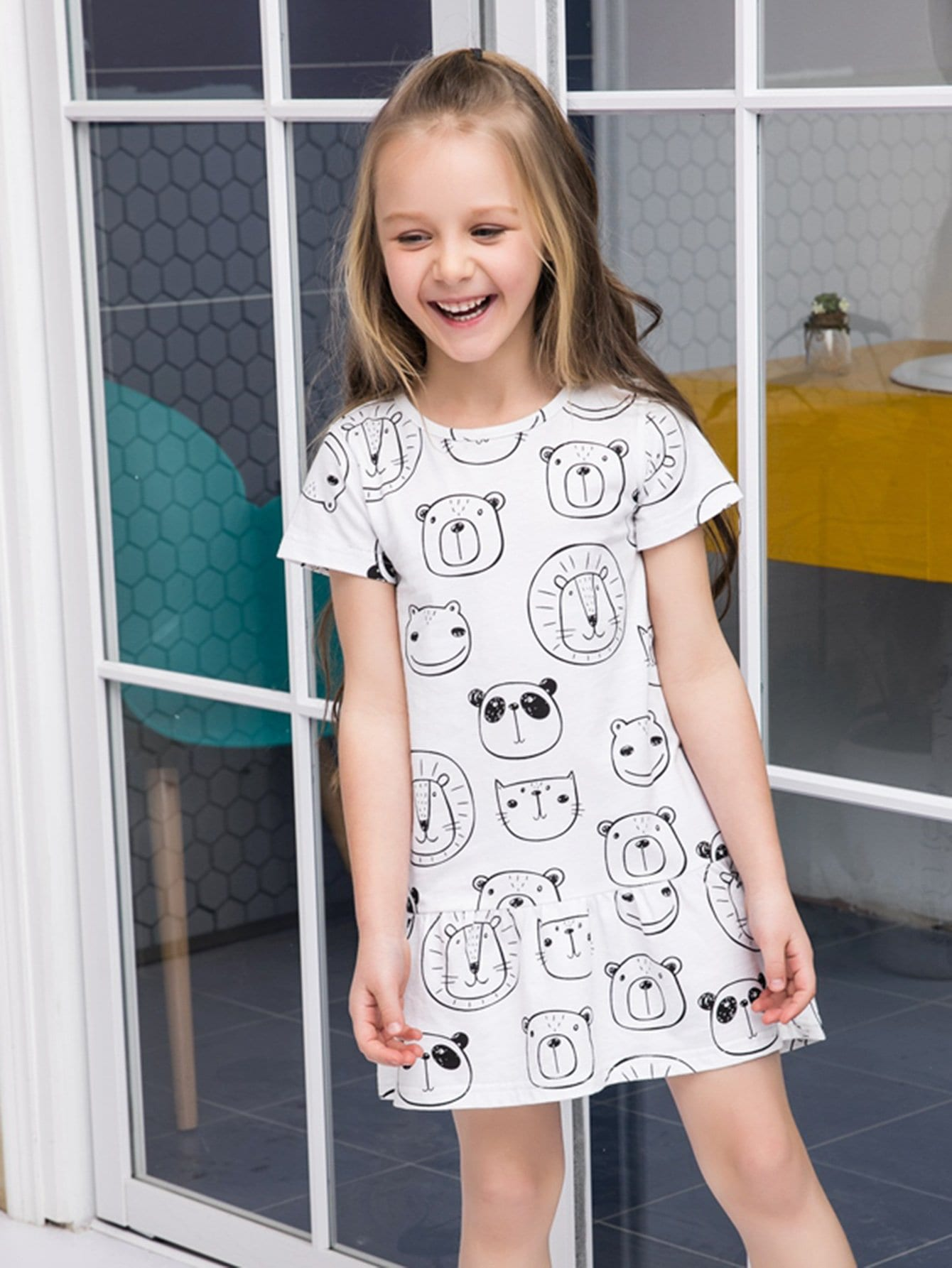 Girls Cartoon Print Dress