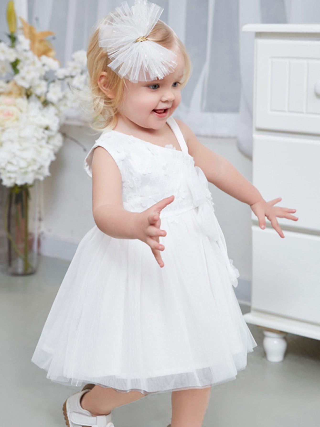 Girls Stereo Flowers Pearl Beaded Dress