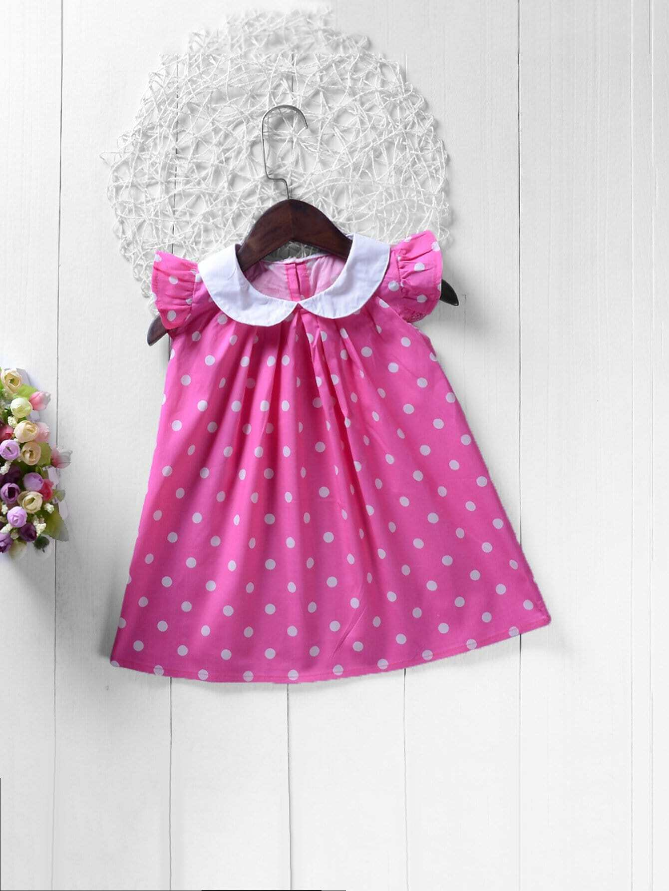 Girls Polka Dot Ruffle Sleeve Dress