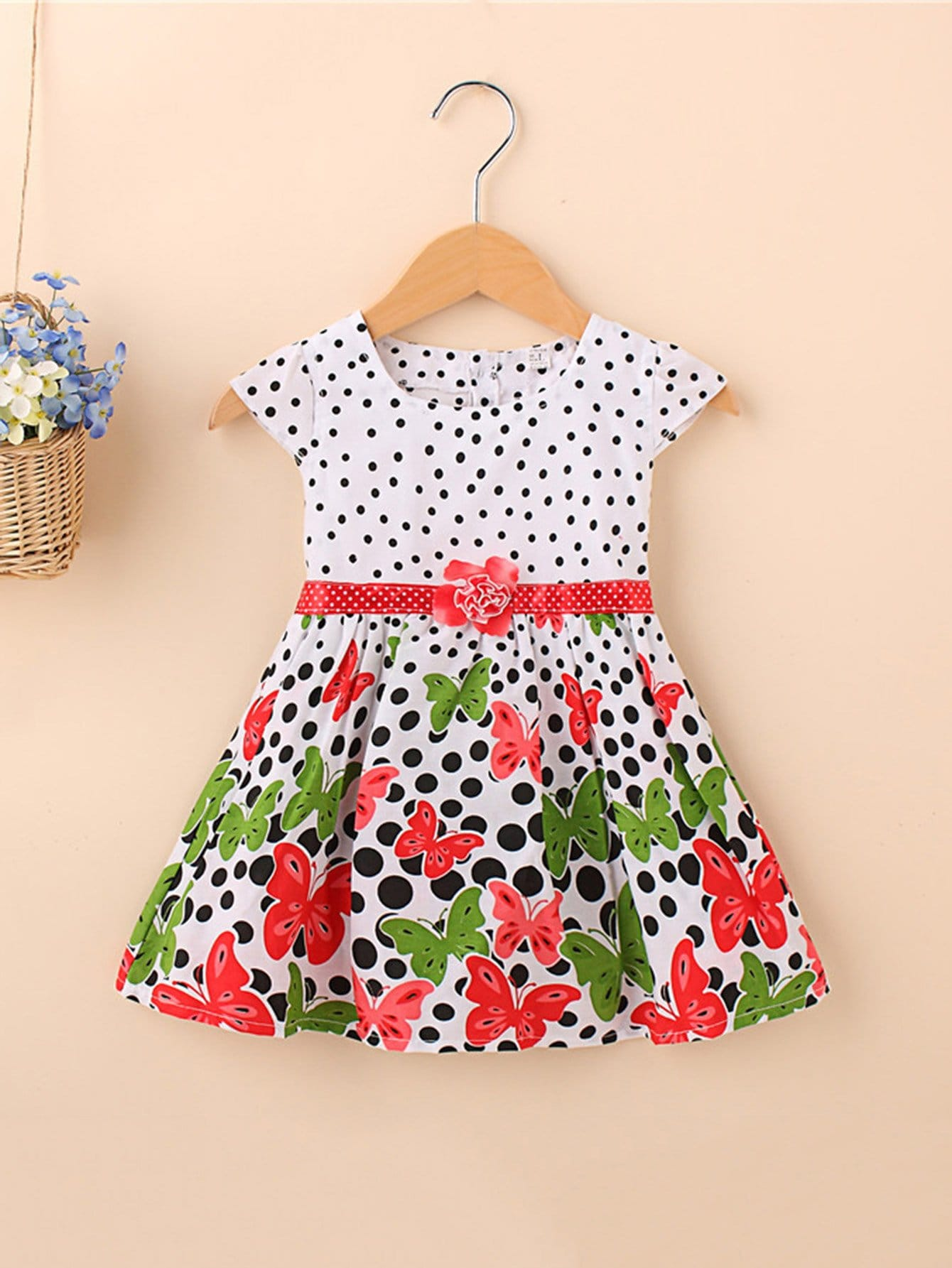 Girls Butterfly Print Polka Dot Dress