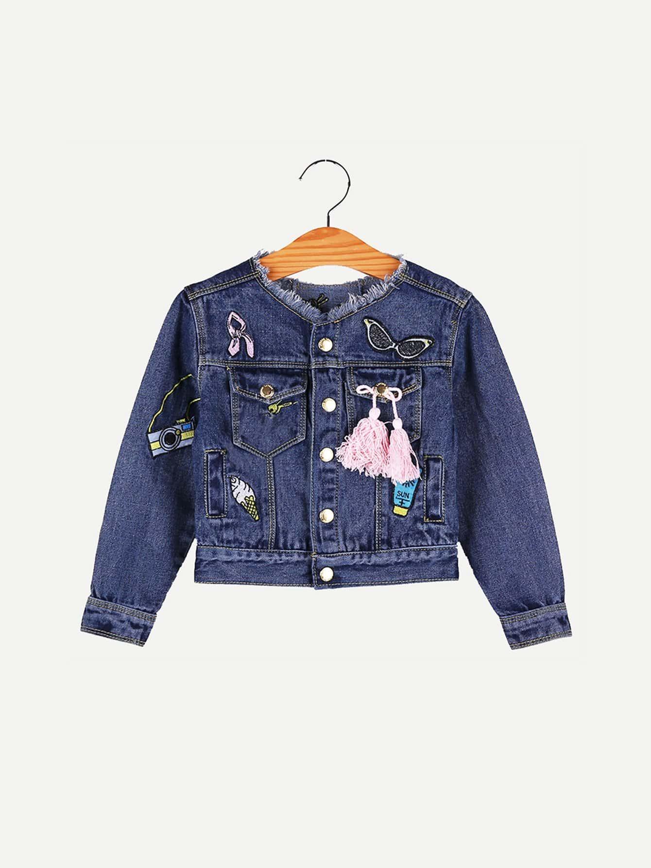 все цены на Girls Cartoon Embroidery Fringe Detail Raw Hem Denim Jacket