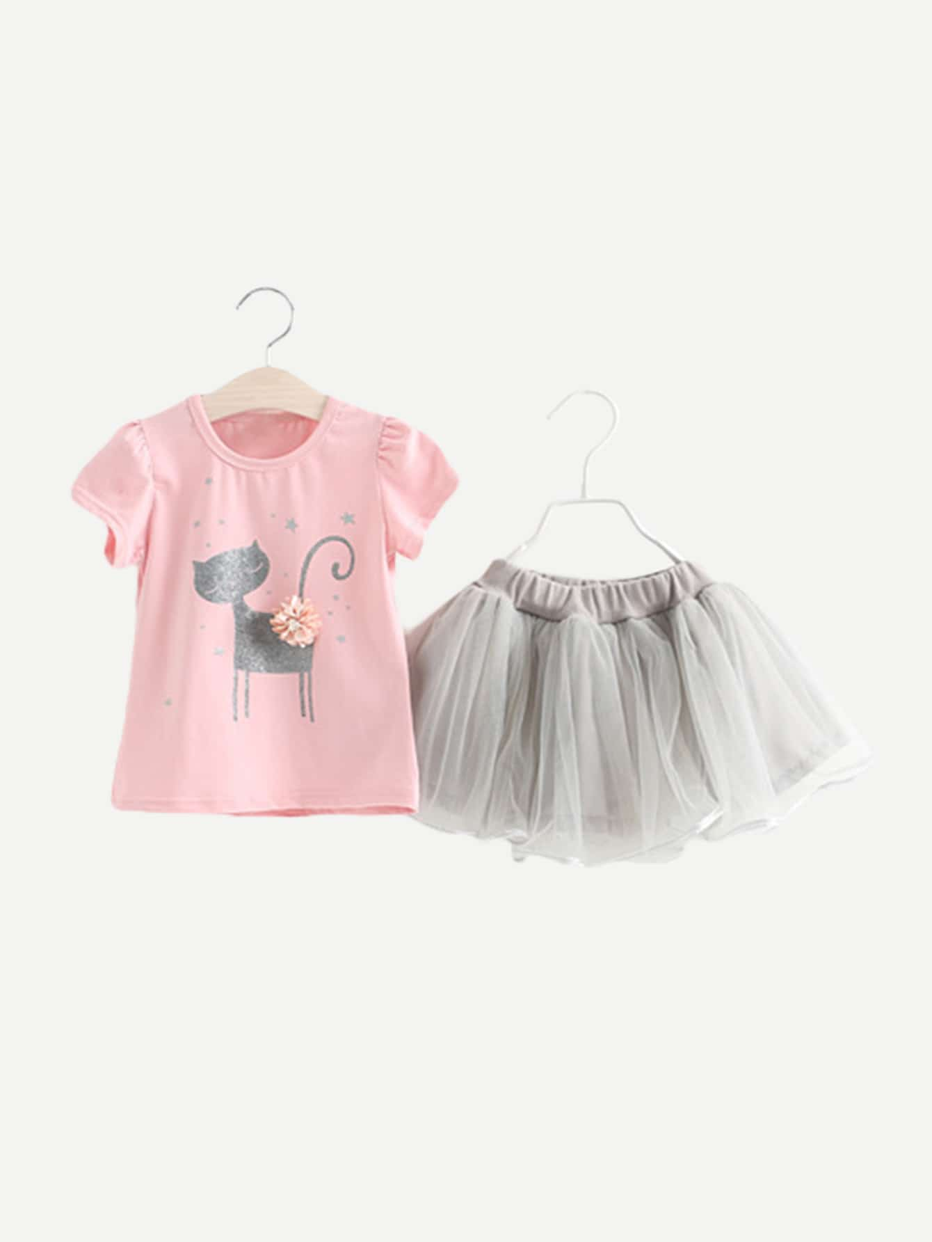 Girls Cat Print Tee With Mesh Skirt