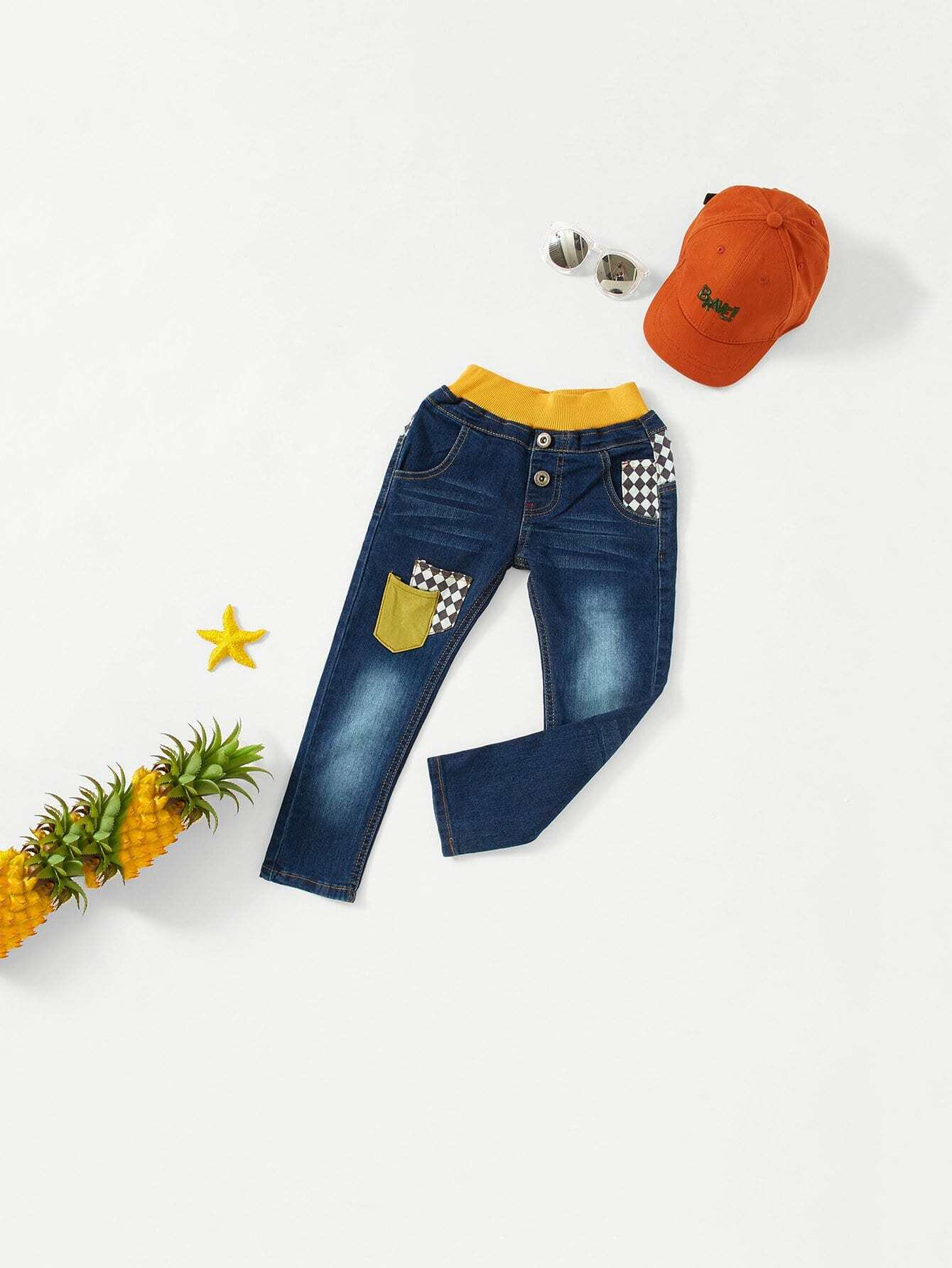 Boys Contrast Ribbed Trim Pocket Detail Jeans