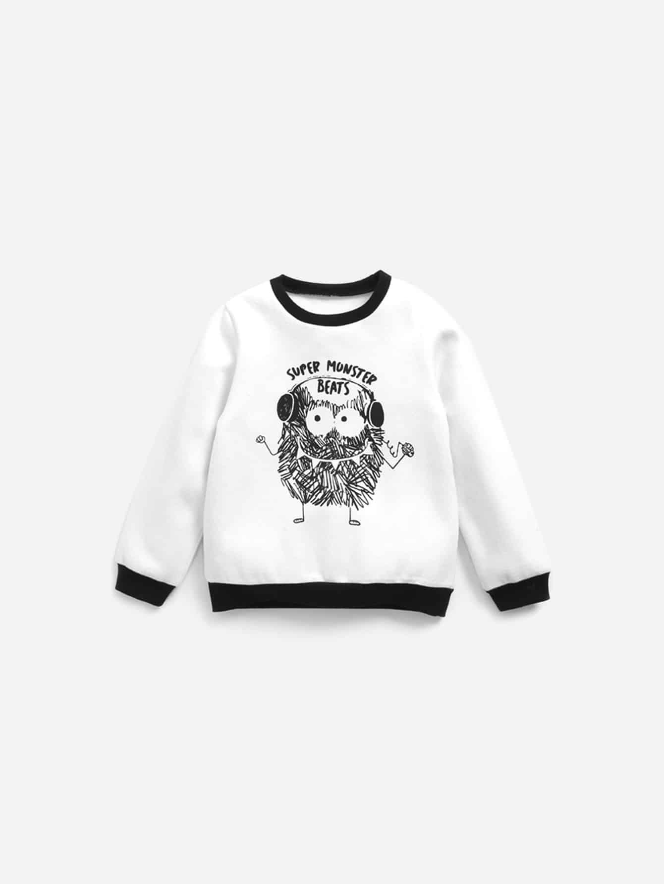 Boys Contrast Trim Cartoon Print Sweatshirt