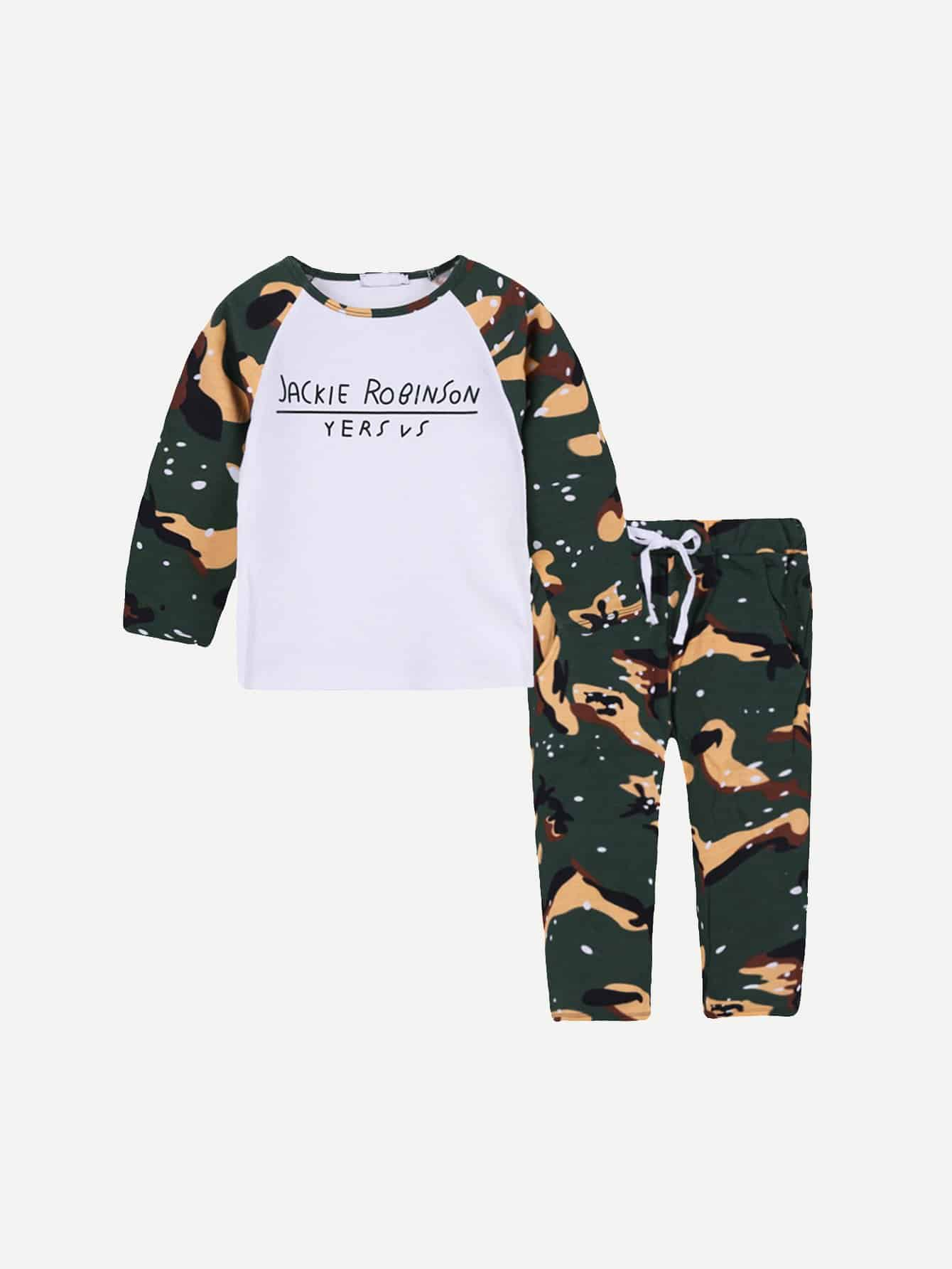 Boys Letter Print Tee With Camo Pants kids letter print sleeveless tee with tropical print pants