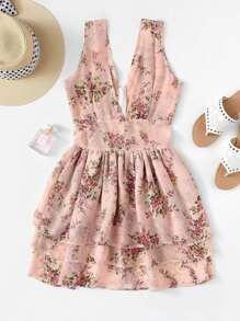 Deep V Neckline Tiered Layer Floral Dress