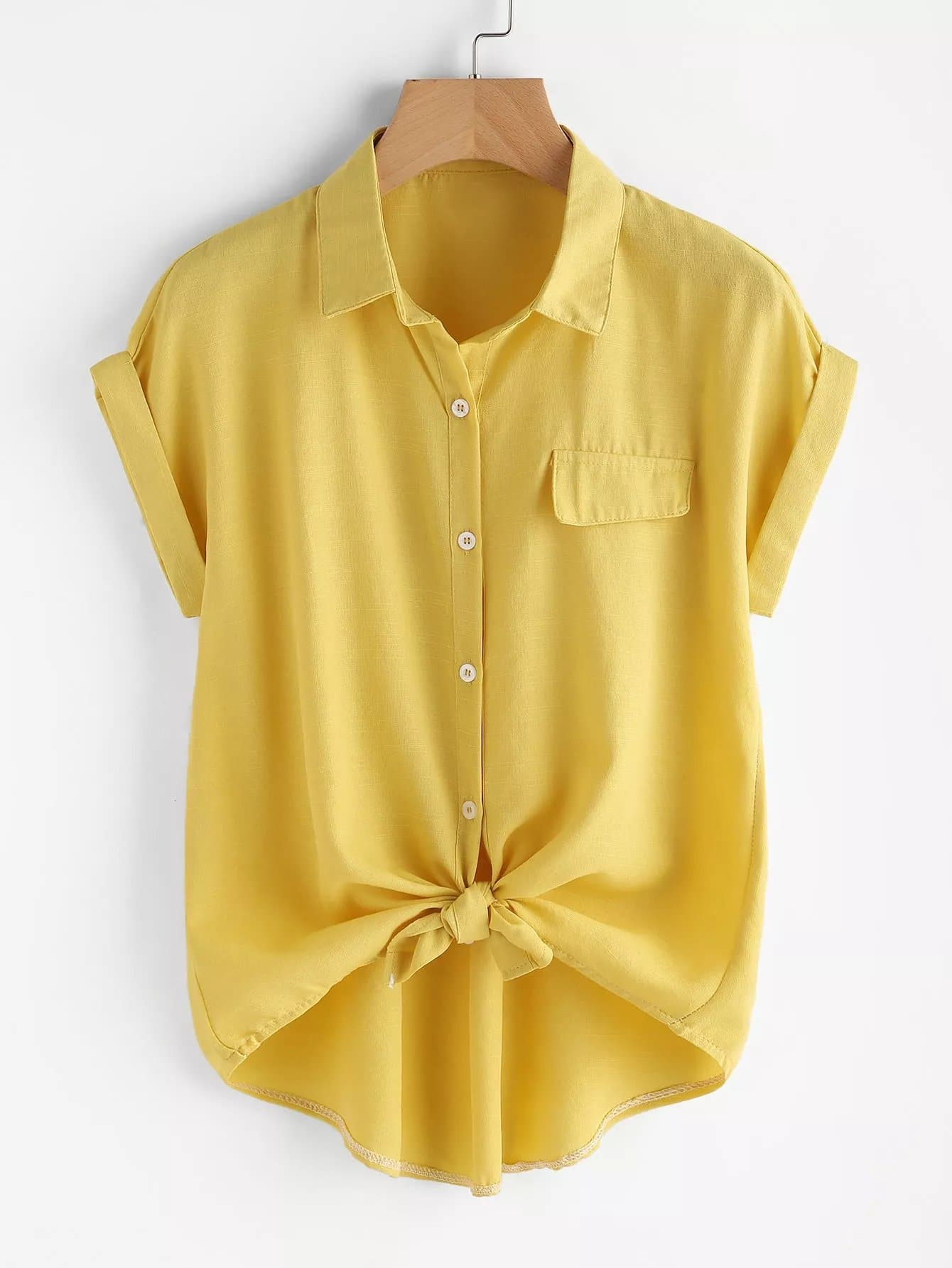 Plus Single Breasted Knot Blouse