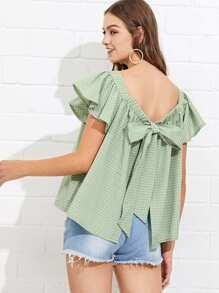 Butterfly Sleeve Knot Back Checked Blouse