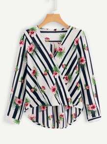 V Neckline Floral Striped Print Blouse