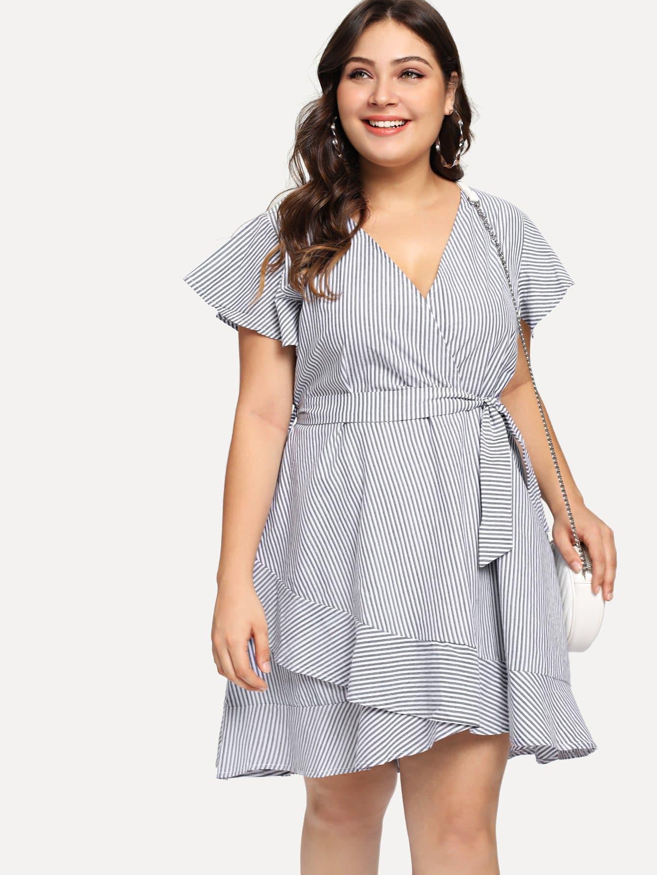 Plus Tie Waist Ruffle Hem Striped Dress