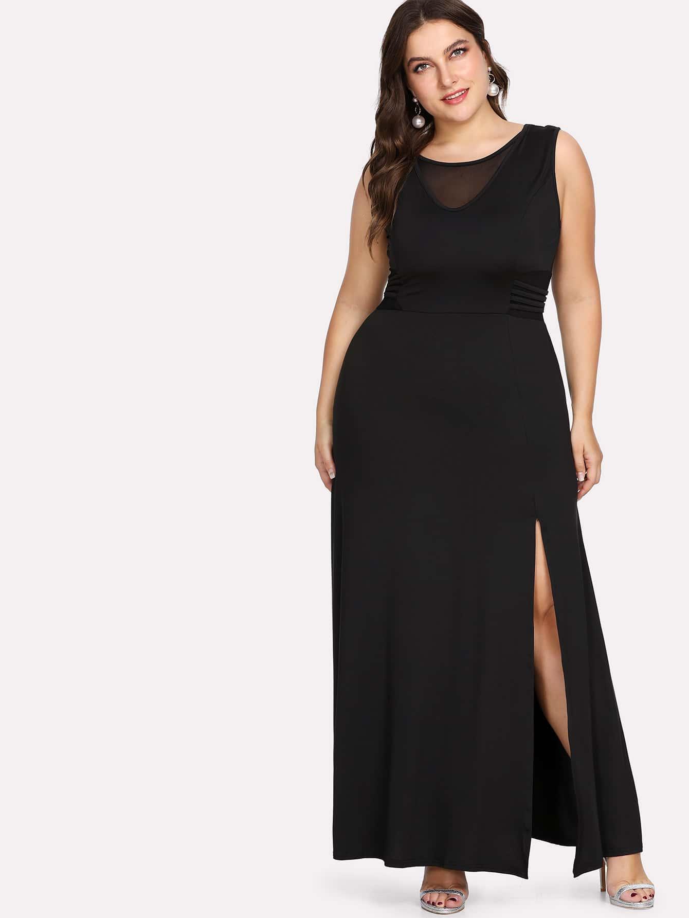 Plus Contrast Mesh Split Dress