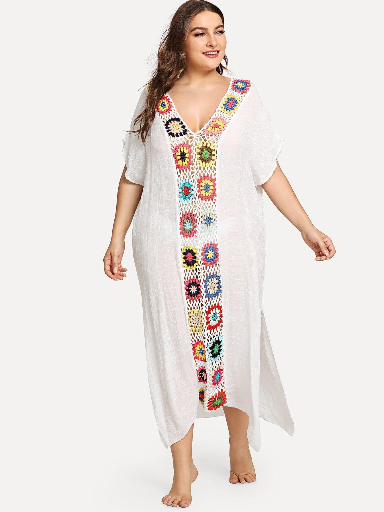 Plus Cut Out Crochet Dress mesh see through cut out crochet tights