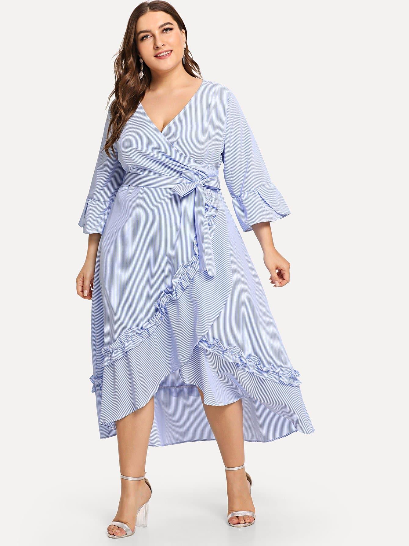 Plus Flounce Sleeve Striped Belted Ruffle Hem Dress