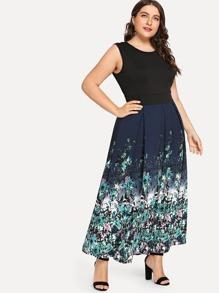 Plus Color Block Floral Print Dress