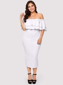 Plus Off Shoulder Tiered Dress
