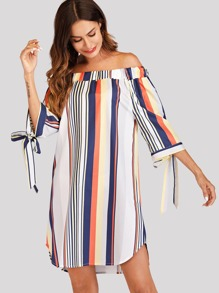 Off Shoulder Striped Knot Cuff Dress