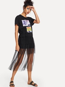 Figure Print Mesh Panel Dress
