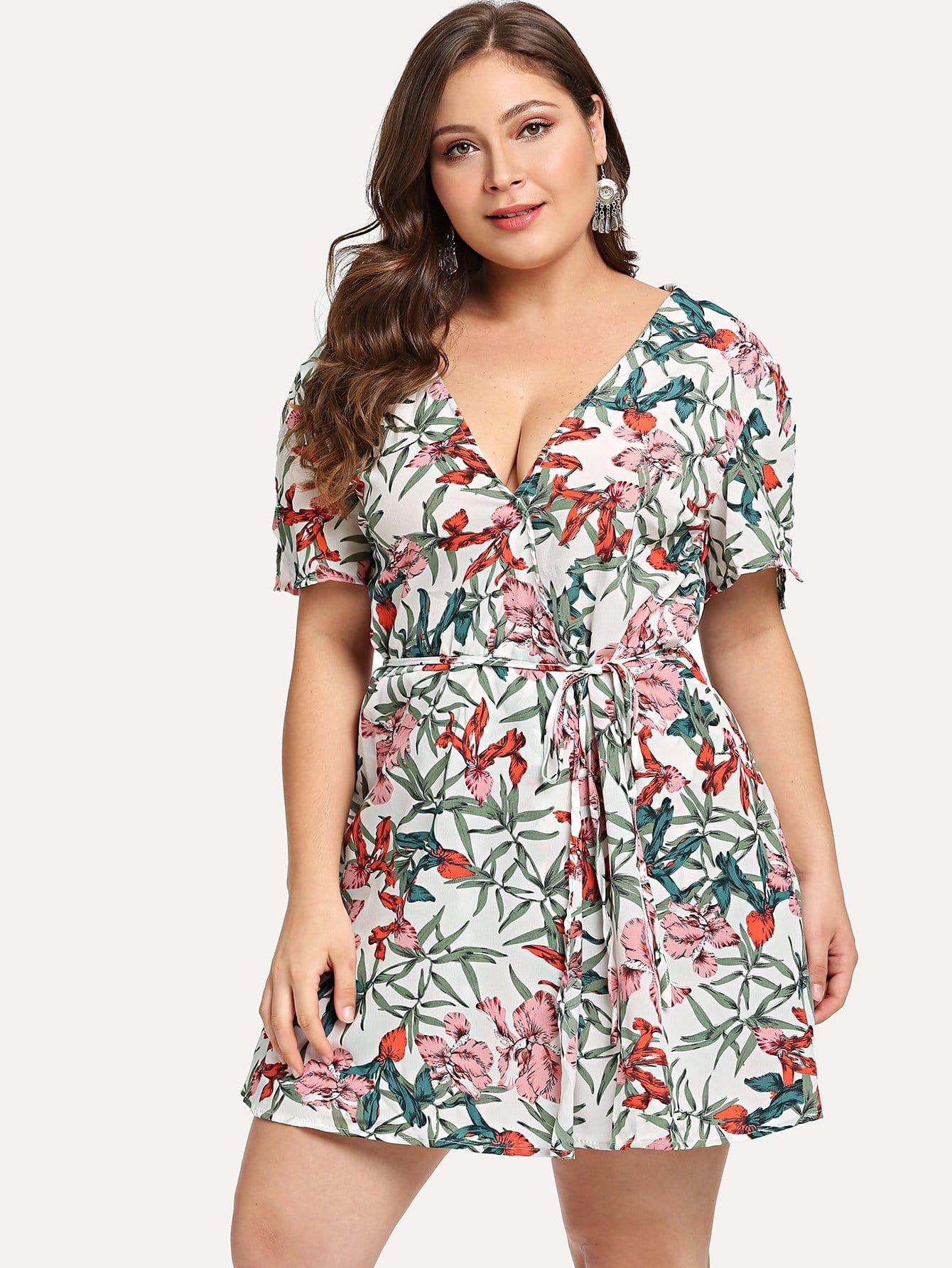 Plus Floral Print Belted Jumpsuit