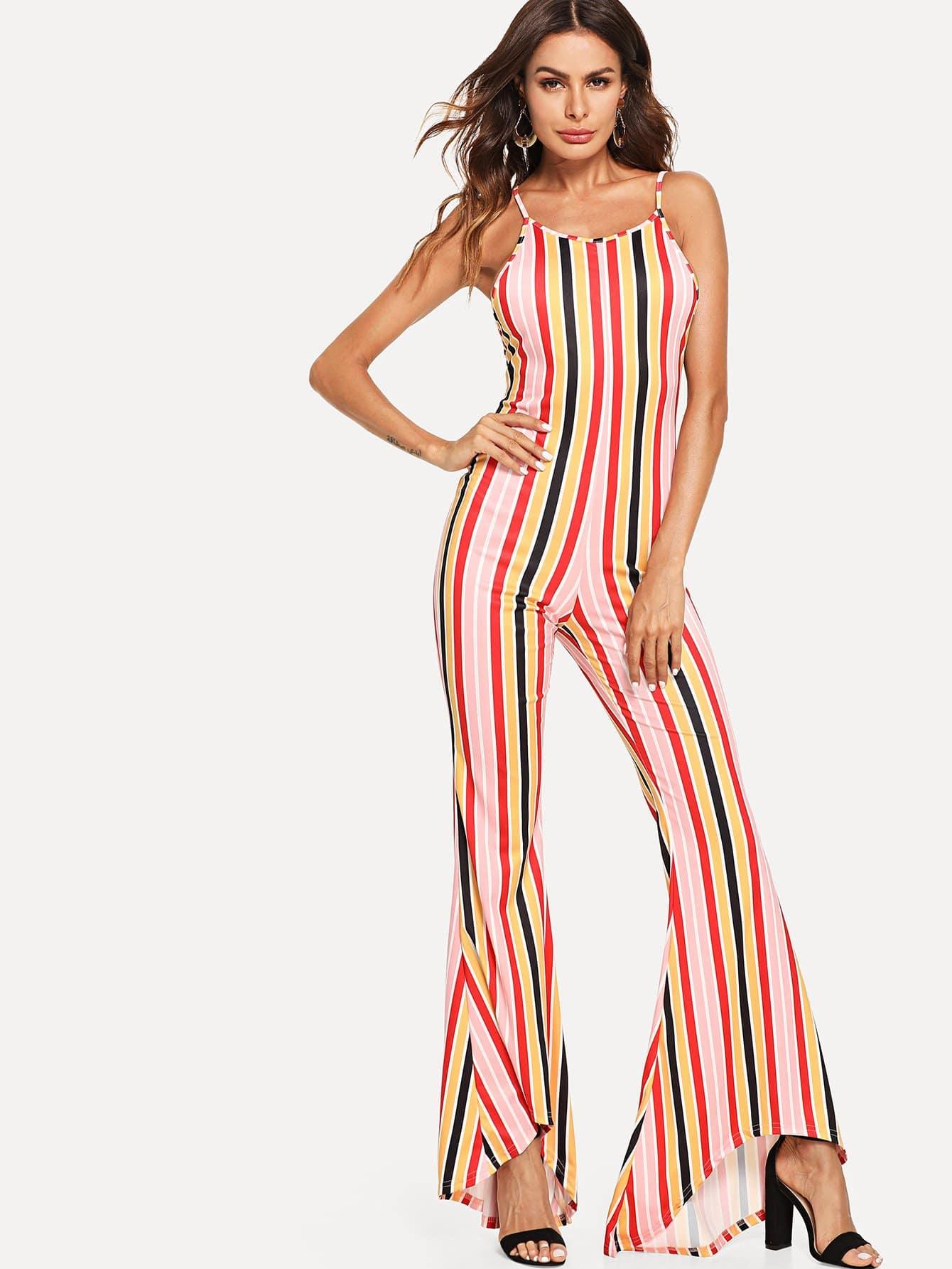 Lace Up Back Striped Flare Leg Jumpsuit lace up open back flare jumpsuit