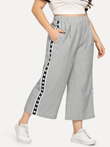 Plus Star Print Side Pants