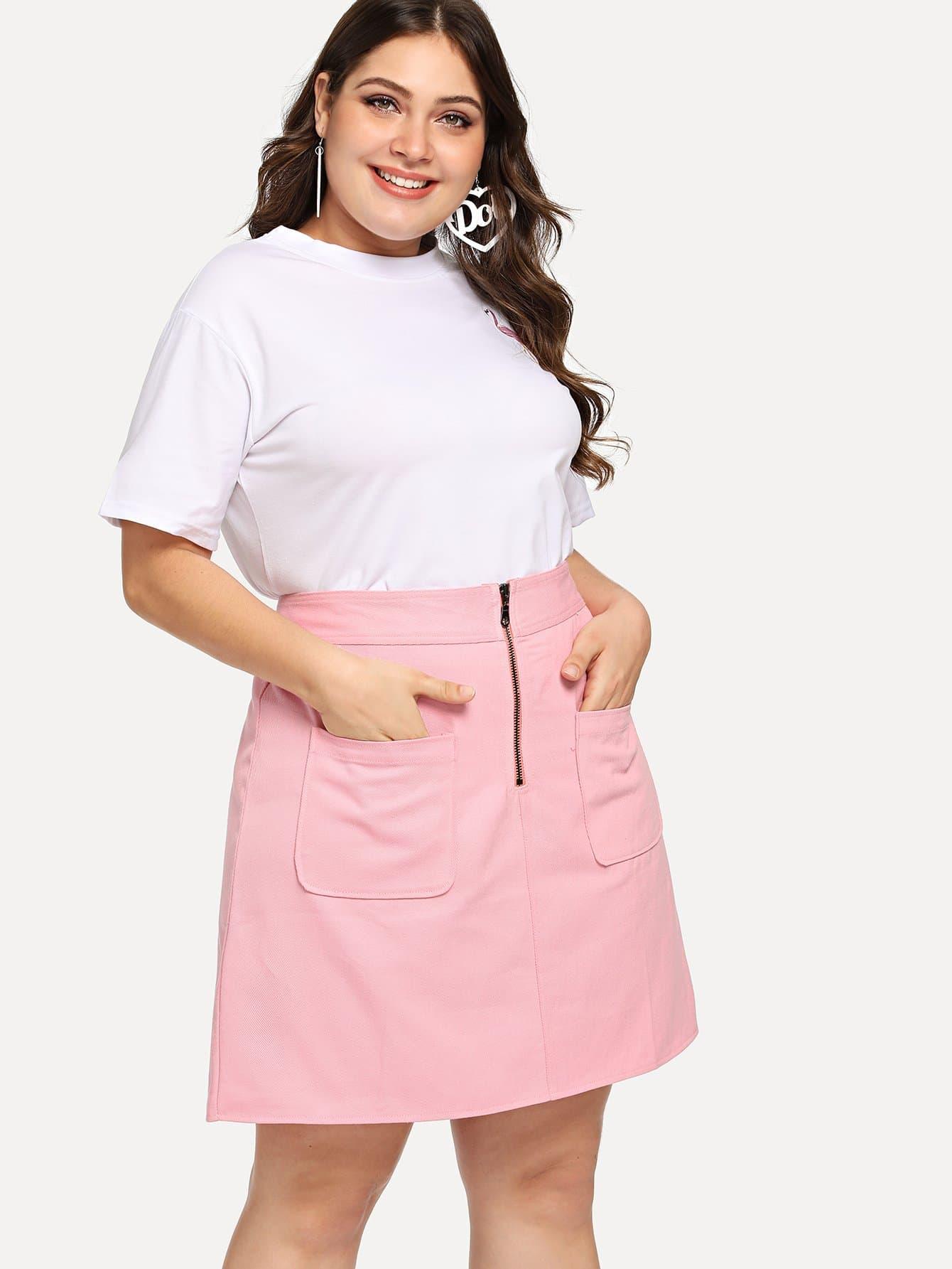 Plus Zip Front Pocket Skirt